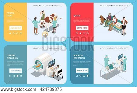 Veterinary Clinic Animal Care 4 Isometric Webpages Set With Waiting Room Vaccination Mri Diagnostic