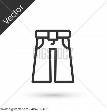 Grey Line Jeans Wide Icon Isolated On White Background. Vector