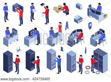 System Administrator Color Set With Server Configuration Symbols Isometric Isolated Vector Illustrat