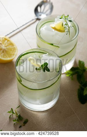 Cold Summer Drinks With Cucumber, Lemon And Ice. Detox Beverage. Healthy Food