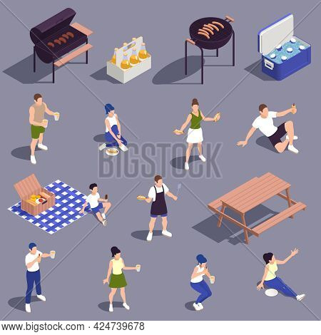 Family Picnic Isometric Set With Charcoal Barbecue Grill Gingham Tablecloth Drinks Refreshments Cool