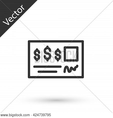 Grey Line Blank Template Of The Bank Check And Pen Icon Isolated On White Background. Checkbook Cheq