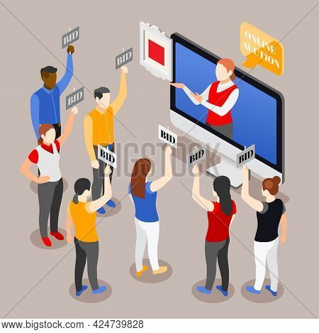 Auction Isometric Background With Composition Of Desktop Computer Surrounded By Human Characters Of
