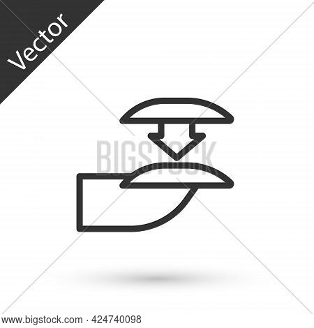 Grey Line Set Of False Nails For Manicure Icon Isolated On White Background. Varnish Color Palette F