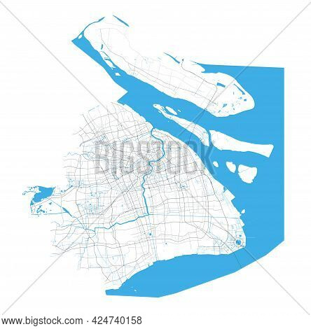 Shanghai Map. Detailed Map Of Shanghai City Administrative Area. Cityscape Panorama. Royalty Free Ve