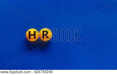Hr, Human Resources Symbol. Orange Table Tennis Balls With Words 'hr, Human Resources' On Blue Backg