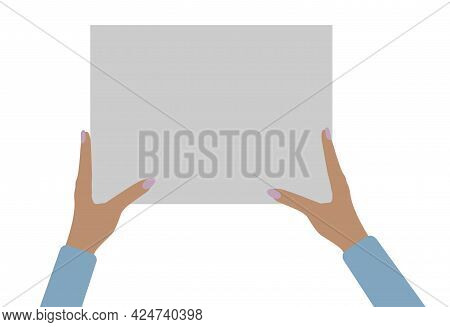 Two Female Hands Holding Empty Banner, Copy Space For Text. Vector Illustration.
