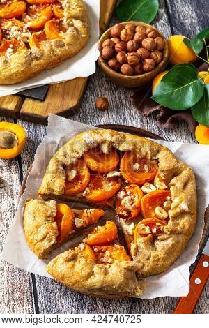 Healthy Pastries Gluten Free, Made From Rye Flour, Diet Food. Apricot Galette With Hazelnuts, Summer