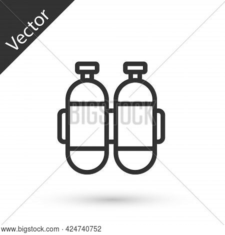 Grey Line Aqualung Icon Isolated On White Background. Oxygen Tank For Diver. Diving Equipment. Extre