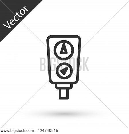 Grey Line Gauge Scale Icon Isolated On White Background. Satisfaction, Temperature, Manometer, Risk,