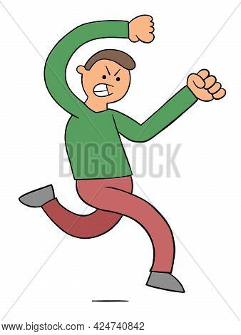 Cartoon Man Is Very Angry And Chasing, Vector Illustration. Colored And Black Outlines.