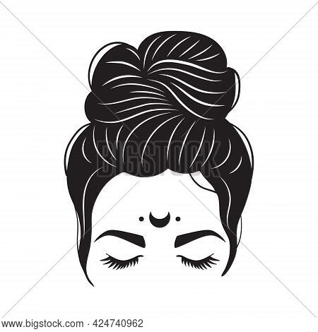 Mystical Woman Messy Bun And Moon. Woman Silhouette With Hair And Long Eyelashes. Vector Illustratio