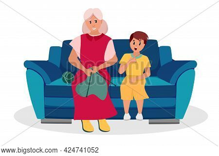 The Older Woman Is A Grandmother With Her Grandson Sitting On The Couch. Elderly People Are Cartoon