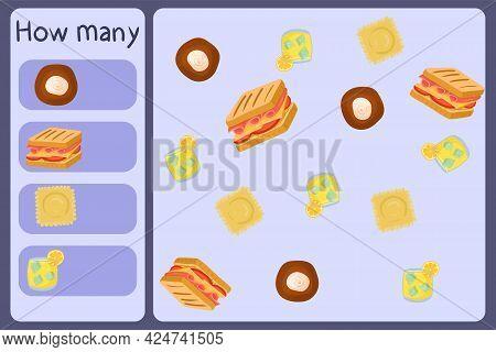 Kids Mathematical Mini Game - Count How Many Foods - Bun, Sandwich, Ravioli, Lemonade. Educational G