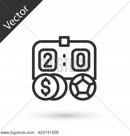 Grey Line Soccer Football Betting Money Icon Isolated On White Background. Football Bet Bookmaker. S