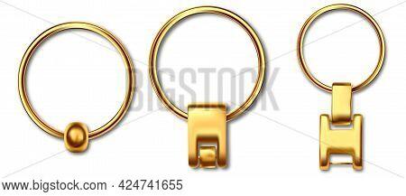 Holder Trinket Isolated On White Background. Reallistic Template Metal Keychain Set. Trinket Keyring