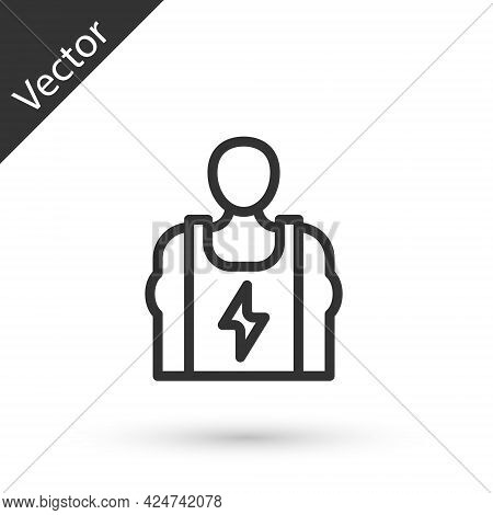 Grey Line Bodybuilder Showing His Muscles Icon Isolated On White Background. Fit Fitness Strength He
