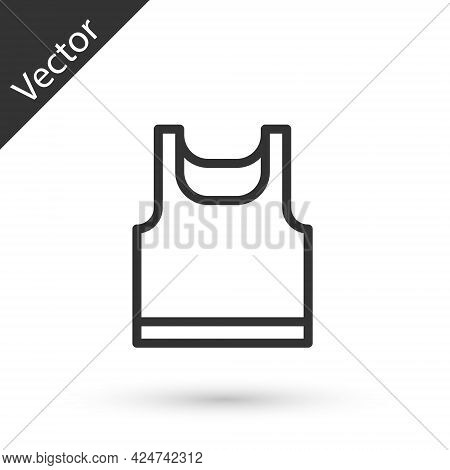 Grey Line Sleeveless Sport T-shirt Icon Isolated On White Background. Vector