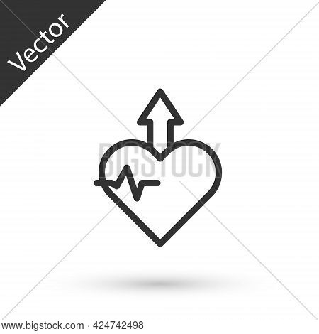 Grey Line Heartbeat Increase Icon Isolated On White Background. Increased Heart Rate. Vector
