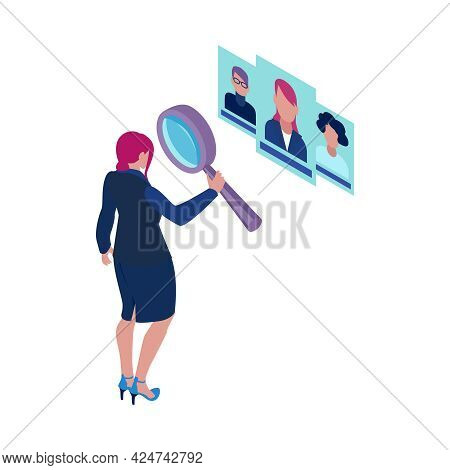 Recruitment Specialist With Magnifier Choosing Candidates Isometric Icon Vector Illustration