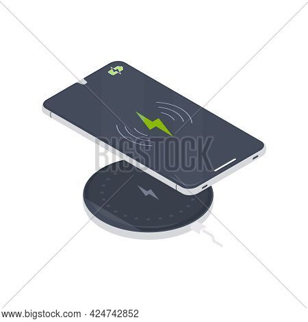 Smartphone Charging On Wireless Charger Pad 3d Isometric Vector Illustration