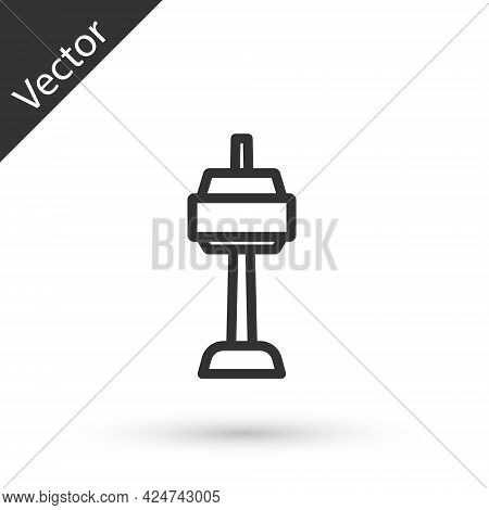 Grey Line N Seoul Tower In South Korea Icon Isolated On White Background. Seoul Tower, Namsan Tower