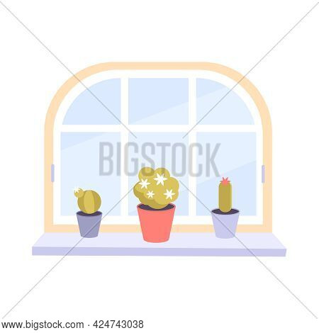 Modern Window With Potted Plants On Windowsill Flat Icon Vector Illustration