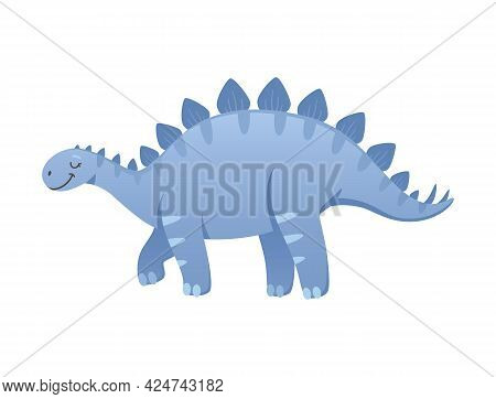 Cartoon Cute Stegosaurus Of Blue Color Vector Illustration