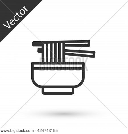 Grey Line Ramen Soup Bowl With Noodles Icon Isolated On White Background. Bowl Of Traditional Asian