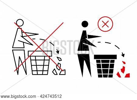 Keeping The Clean. Forbidden Icon. Pitch In Put Trash In Its Place. Tidy Man, Do Not Litter, Icon. P