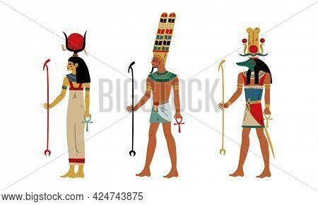Hathor, Amun And Anubis As Ancient Egyptian Deity And Goddess Vector Set