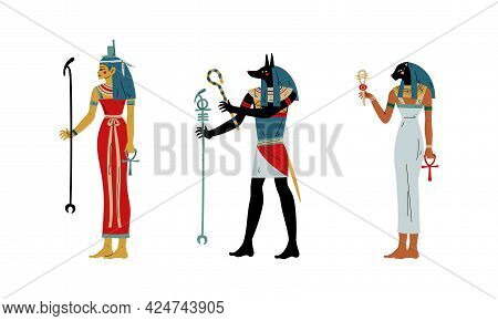 Anubis, Isis And Bastet As Ancient Egyptian Goddess And Deity Vector Set