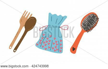 Zero Waste With Wooden Kitchen Tool And Hair Brush As Everyday Reused Object Vector Set