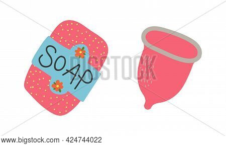 Zero Waste With Menstrual Cup And Soap As Everyday Reused Object Vector Set