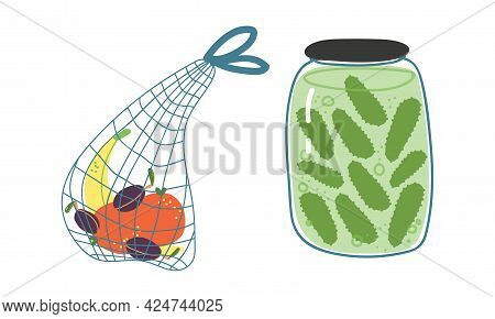 Zero Waste With Mesh Bag And Glass Jar With Preserved Food As Everyday Reused Object Vector Set