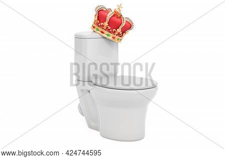 Toilet Bowl With Golden Crown, 3d Rendering Isolated On White Background