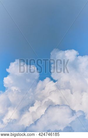 Lift Your Head Up And You Will See Beauty Of Sky. Thick White Clouds In Bright Blue Sky. Minimalisti