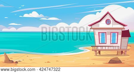 Empty Beach And Sea, Beach Bungalow House Stands At The Edge Of The Banner. Vector Illustration Of A