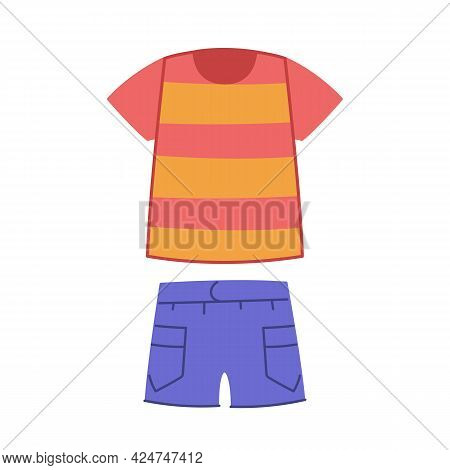T-shirt And Blue Denim Shorts With Pockets. Summer Clothes For Children Set. Vector Illustration Of