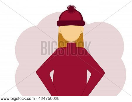 Vector Illustration Of A Woman In A Dark Red Knitted Sweater And Knitted Hat