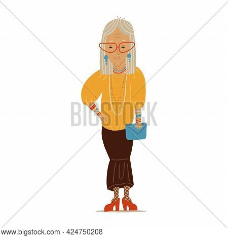 Beautiful Old Woman In Elegant Trendy Clothes. Senior Female Cartoon Character Standing In Fashion P