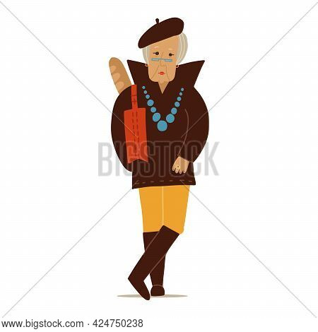 Fashion Senior Woman. Elegant Old Lady Character Wearing Trendy Clothes In French Style. Vector Flat