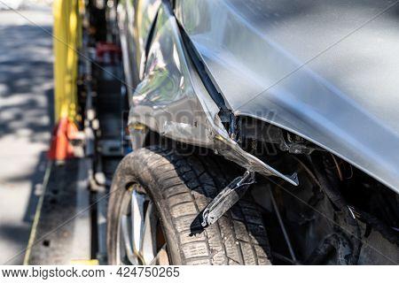 Unsafe Roads Warning. Car Insurance And Repair