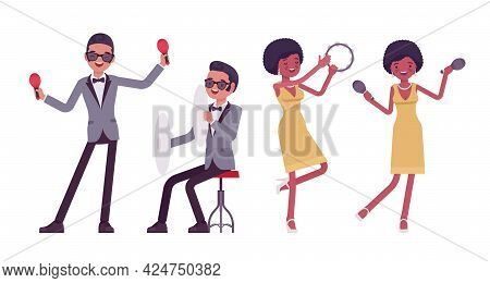Musician, Rock And Roll Performers, Man, Woman Playing Percussion Instruments. Blues Band Or Pop Mus