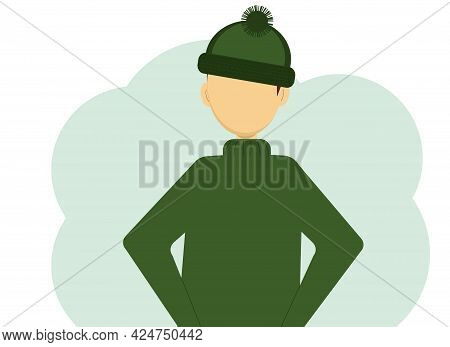 Vector Illustration Of A Man In A Dark Green Knitted Sweater And Knitted Hat