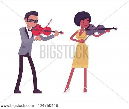 Musician, Jazz, Rock And Roll Performers Man, Woman Playing Violin. Blues Band Or Pop Music Artists
