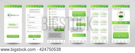 Design Of Mobile App Chat Room, Ui, Ux, Gui. Set Of User Registration Screens With Login And Passwor