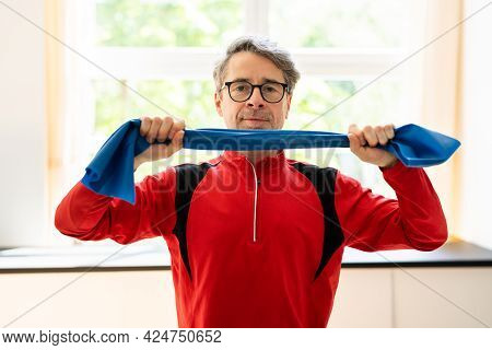 Elderly Man Rehab Band Stretch Therapy After Shoulder Injury