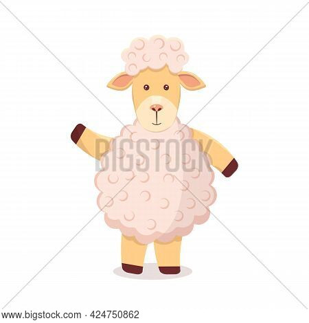 Childrens Illustration Of A Pink Lamb For Print Clothes, Stickers, Linen.