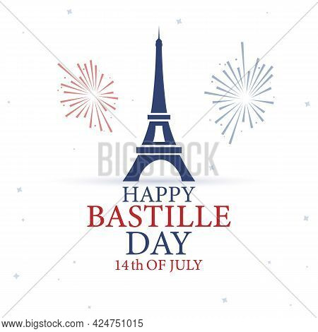 14th July, Happy Bastille Day. National Day Of France. Eiffel Tower, France Flag Colors Elements. Ca
